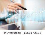 double exposure economic charts ... | Shutterstock . vector #1161172138