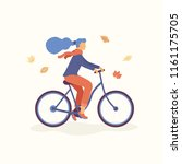 young women riding a bicycle in ... | Shutterstock .eps vector #1161175705