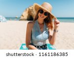 young attractive woman wearing... | Shutterstock . vector #1161186385