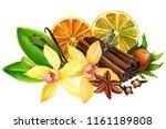 composition of vanilla flower ... | Shutterstock . vector #1161189808