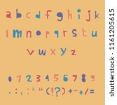 carved alphabet number and... | Shutterstock .eps vector #1161205615