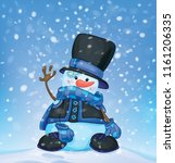 vector happy snowman  and... | Shutterstock .eps vector #1161206335