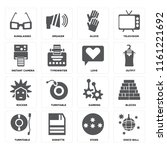 set of 16 icons such as disco...
