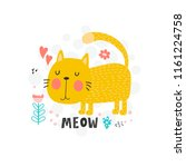 background with cute yellow cat ...   Shutterstock .eps vector #1161224758