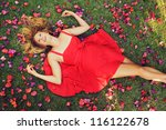 Beautiful Young Woman Lying On...