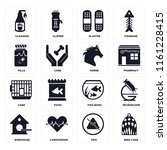 set of 16 icons such as bird...