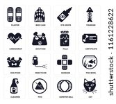 set of 16 icons such as cat ...