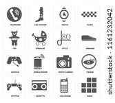 set of 16 icons such as rubik ...