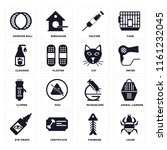 set of 16 icons such as louse ...