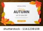 autumn sale background with... | Shutterstock .eps vector #1161238108