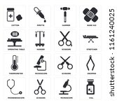 set of 16 icons such as vial ...