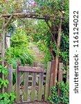 rustic garden gate | Shutterstock . vector #116124022