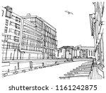 scene street illustration. hand ... | Shutterstock .eps vector #1161242875