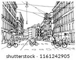 Scene street illustration. Hand drawn ink line sketch European old town Copenhagen, Denmark with buildings, streets, cars, bikes in outline style. Perspective view. Travel postcard.