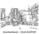 scene street illustration. hand ... | Shutterstock .eps vector #1161242935
