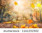 autumn leaves background | Shutterstock . vector #1161252502