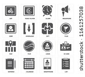 set of 16 icons such as list ...