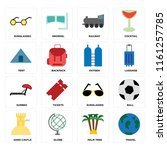 set of 16 icons such as travel  ...