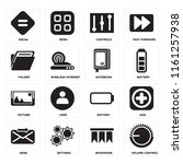 set of 16 icons such as volume...