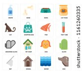 set of 16 icons such as dog ...