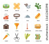set of 16 icons such as canned...