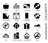 set of 16 icons such as no wifi ...