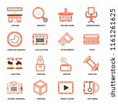 set of 16 icons such as hot...