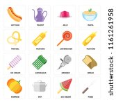 set of 16 icons such as fork ...