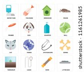 set of 16 icons such as litter...
