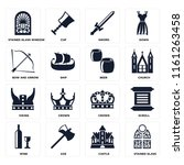 set of 16 icons such as stained ...