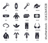 set of 16 icons such as jeans ...