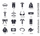 set of 16 icons such as sweater ...