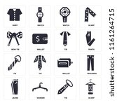 set of 16 icons such as scarf ...