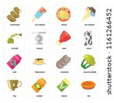 set of 16 icons such as pie ...