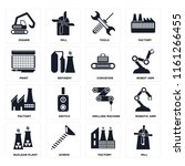 set of 16 icons such as mill ...