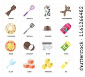 set of 16 icons such as oil ...