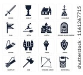 set of 16 icons such as water...