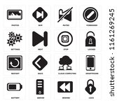 set of 16 icons such as lock ...