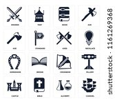 set of 16 icons such as caravel ...