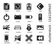 set of 16 icons such as rewind  ...