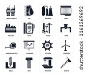 set of 16 icons such as screw ...