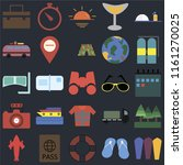 set of 25 icons such as surfing ...