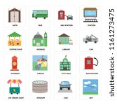 set of 16 icons such as sky ...