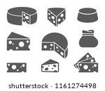 pieces of cheese icons on white ... | Shutterstock .eps vector #1161274498
