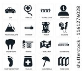 set of 16 icons such as three...