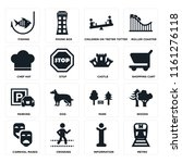 set of 16 icons such as metro ...
