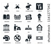 set of 16 icons such as brick...