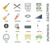 set of 16 icons such as mp3 ...