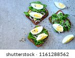 healthy fitness toasts with... | Shutterstock . vector #1161288562