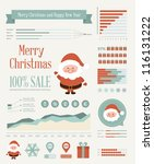 set of christmas ornaments and... | Shutterstock .eps vector #116131222